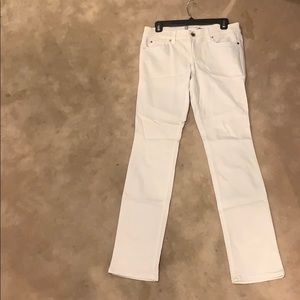Level 99 cream skinny straight stretch jeans